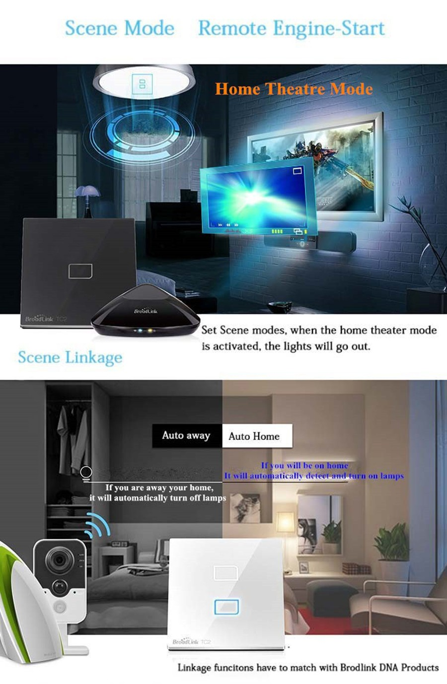 Broadlink TC2 בריטניה אלחוטית 1כנופיית קיר מתג חכם מגע מתג Wifi Remote Control מתג חכם, אוטומציה ביתית 110-240V