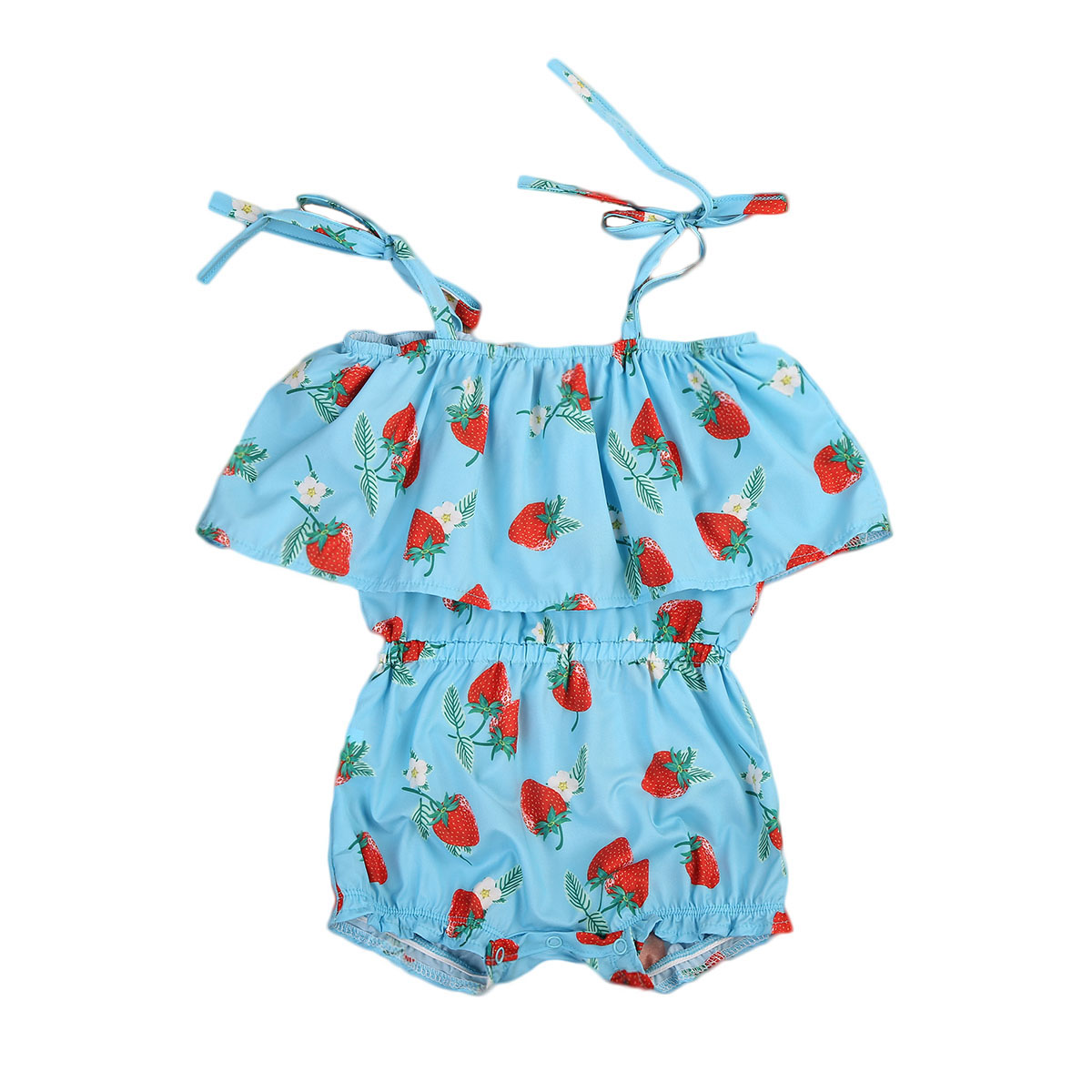Pudcoco Newborn Baby Girls Strawberry Romper Strap Off Shlouder Ruffle Jumpsuit Outfits Sunsuit Summer Kids Clothes One-Piece cute newborn baby girl romper 2017 summer ruffles polka dot princess kids jumpsuit headband 2pcs outfits sunsuit clothes