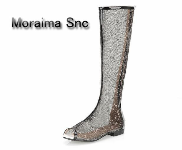 Moraima Snc brand summer over the knee boots white pink black sliver Lace ladies shoes peep toe zip long boots females hot sales