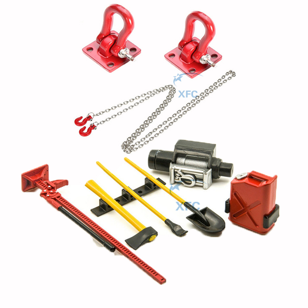 Gancho de remolque y remolque cadena + Mini tanque de combustible Winch Jack herramientas Set Decoración Para 1/10 RC Crawler Car Axial SCX10 AX10 D110 D90 CC01