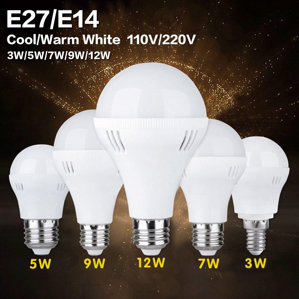 LED Bulb E27 E14 3W 5W 7W 9W 12W AC220V High Brightness Home Lighting LED Lamp Cool White Warm White SMD 5730 LED Light Bulb