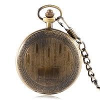 Mechanical Copper Stars Treasure Box Pattern Gift Full Hunter Men Hand Winding Pocket Watch Steampunk Chain