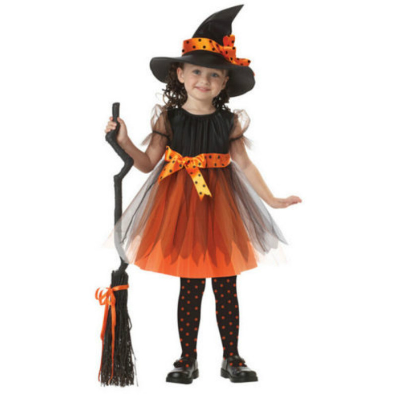 Halloween Children Kids Girls Witch Costume Tutu Tulle Fancy Dress Set pudcoco Halloween kid girl cosply show dress set