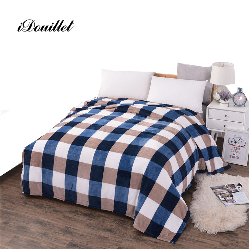 idouillet plaid fleece blanket throw lightweight flannel check bed cover blue brown green small large 150x200 - Fleece Throws
