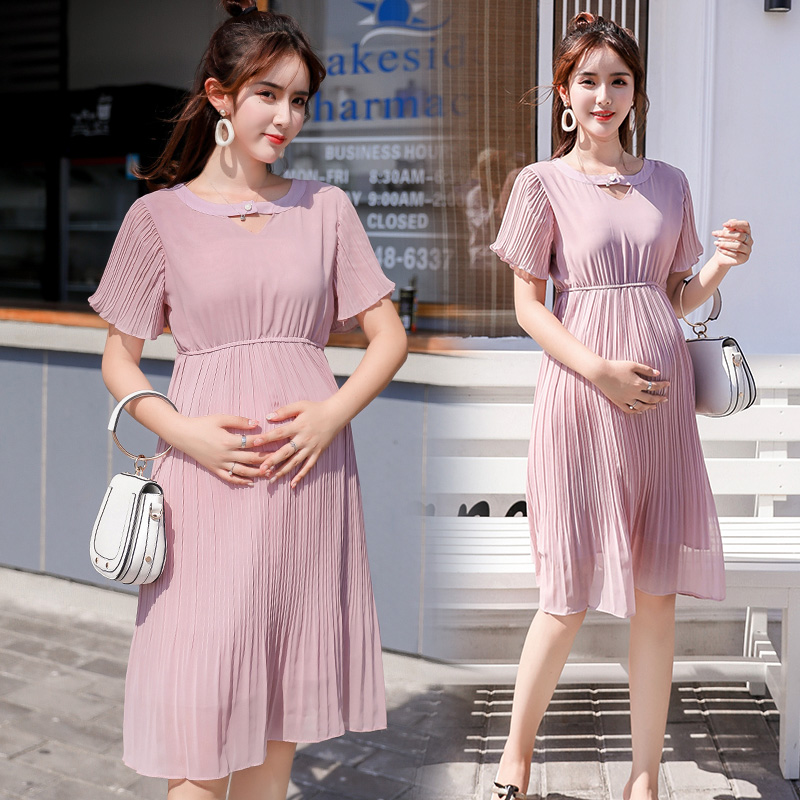 Sweet Backless V Neck Slim Waist Pleat Chiffon Maternity Dress Bodycon Clothes for Pregnant Women Elegant Pregnancy Dresses цена