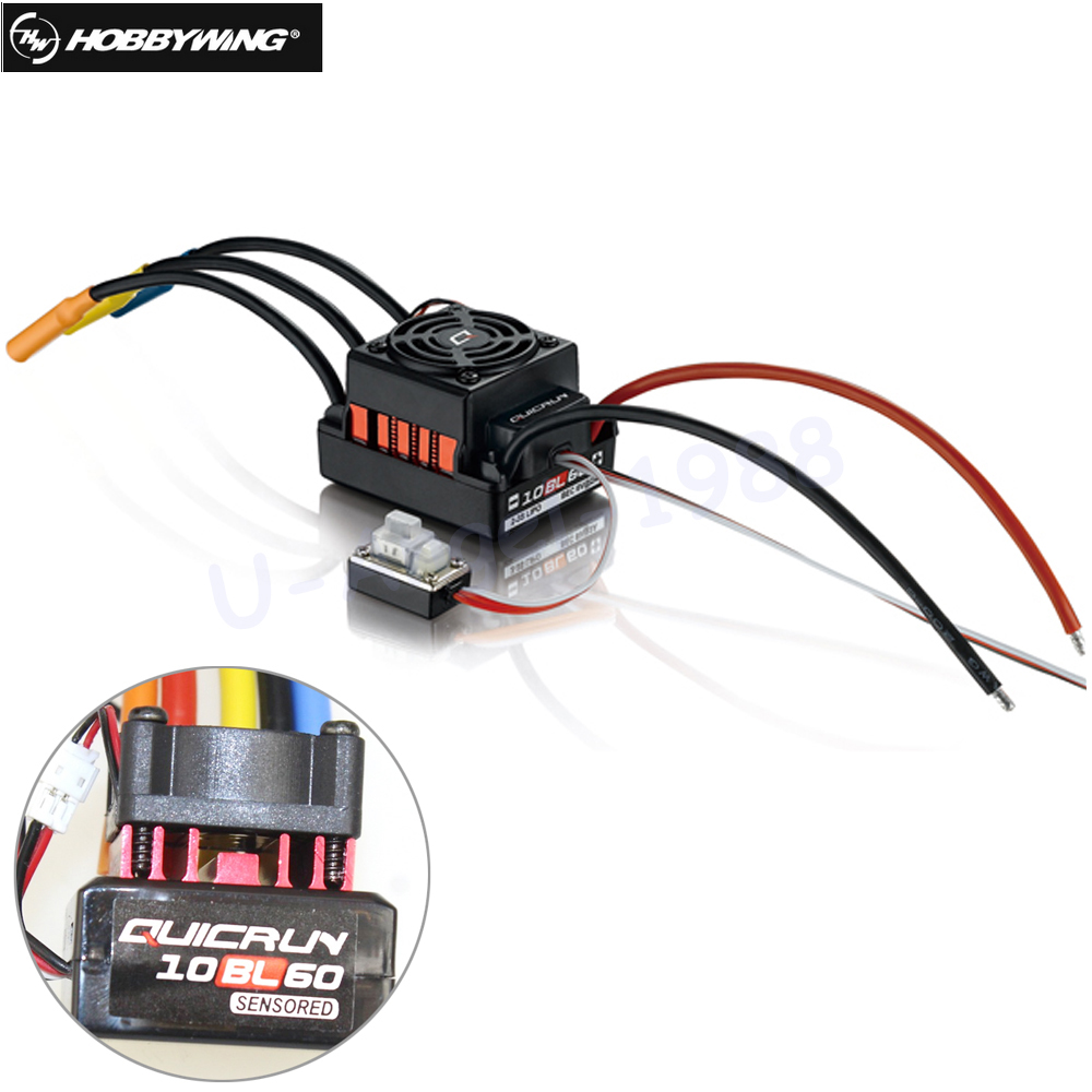 1pcs Original Hobbywing QUICRUN 10BL60 Sensored 60A 2-3S Lipo BEC Speed Controller Brushless ESC for 1/10 1/12 RC Car wholesale 1pcs new 120a sensored brushless esc speed controller for 1 8 1 10 1 12 rc car crawler drop free shipping