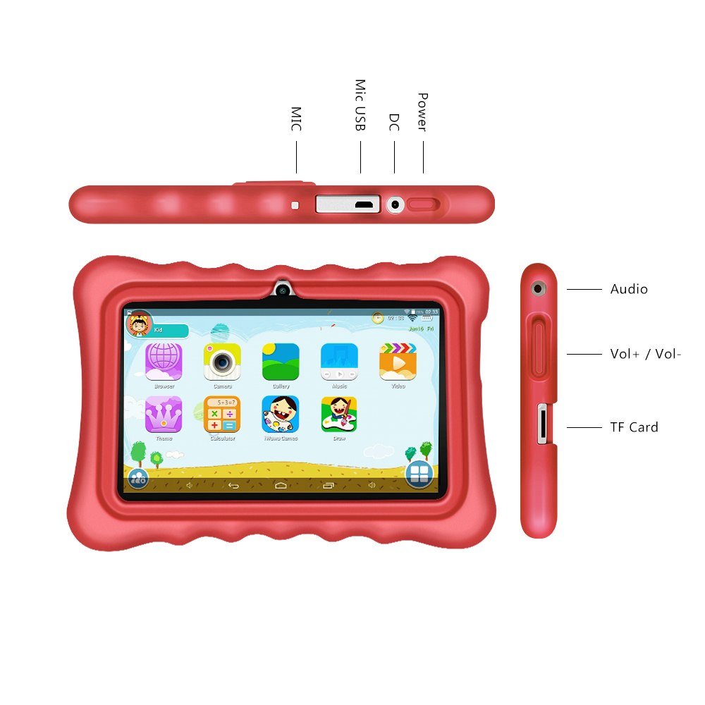 Yuntab 7 inch touch screen Educational tablet for children,Premium Parent Control android tablet with chic stand case(red)