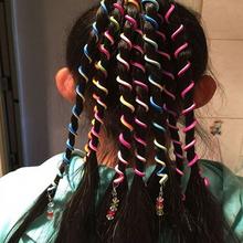 1 pc Rainbow Color Cute Girls Hair Clip Spiral Hairband Crystal Long Elastic Headwear Hair Accessories