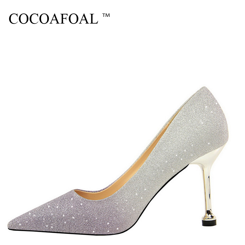 COCOAFOAL Woman Pur Wedding Pumps Bling Pointed Toe Sexy High Heels Shoes Spring Fashion Party Golden Silver Pink Pumps 2018 sparkling glitter pointed toe pumps fashion shoes with matching clutch bag bling bling kit silver red party queen set prom kit