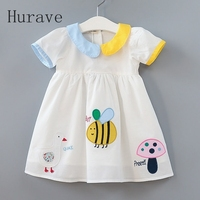 2017 New Casual Style Girls Dress Summer Short Sleeve Girls Clothes Cartoon Bee Embroidery Dress For