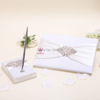 Free shipping New arrival classic rhinestone and pearl decorated Wedding Guest Book and Pen Set 1067