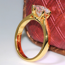 Queen Brilliance 2 Carat ct F Color Lab Grown Moissanite Diamond Engagement Wedding Ring Solid 14K 585 Yellow Gold For Women