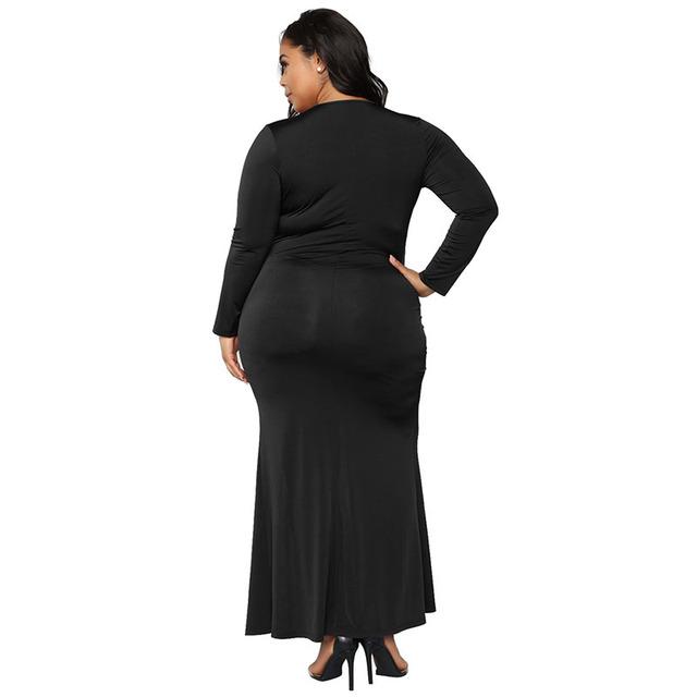 Long sleeve plus size slit curvy black dress