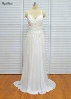 Noivas Vestidos A-line Até O Chão Lace Chiffon Cintas de Espaguete Com Decote Em V Plus Size Vestidos De Noiva Menos de 100