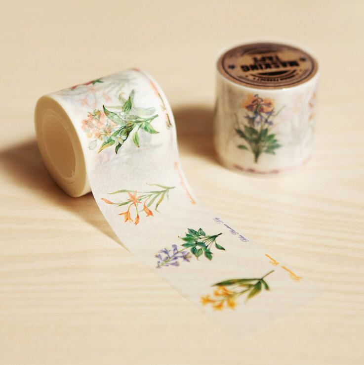 4 CM Wide When Flowers In Bloom Hand-Drawn Washi Tape DIY Scrapbooking Sticker Label Masking Tape School Office Supply je307 1 5cm wide amazing library books washi tape diy scrapbooking sticker label masking tape school office supply
