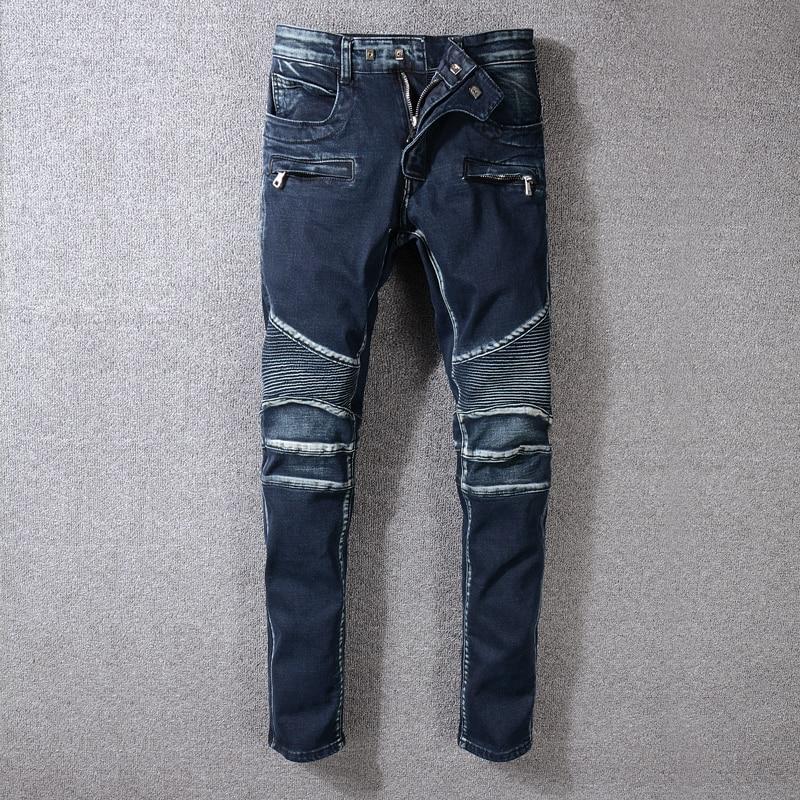 Vintage Design Fashion Men's Jeans Dark Blue Slim Fit Spliced Cargo Pants Hombre Streetwear Hip Hop Jeans Men Biker Jeans Homme