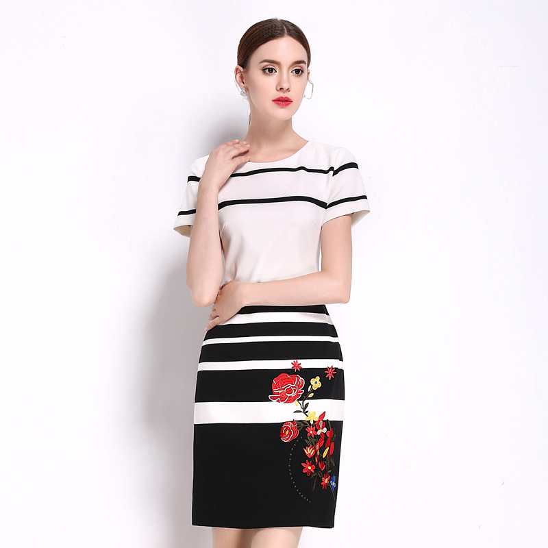 Women Summer Dress Office Ladies Embroidery Floral Black White Stripe Pencil Skinny Dresses Short Sleeve Plus Size Slim Dress