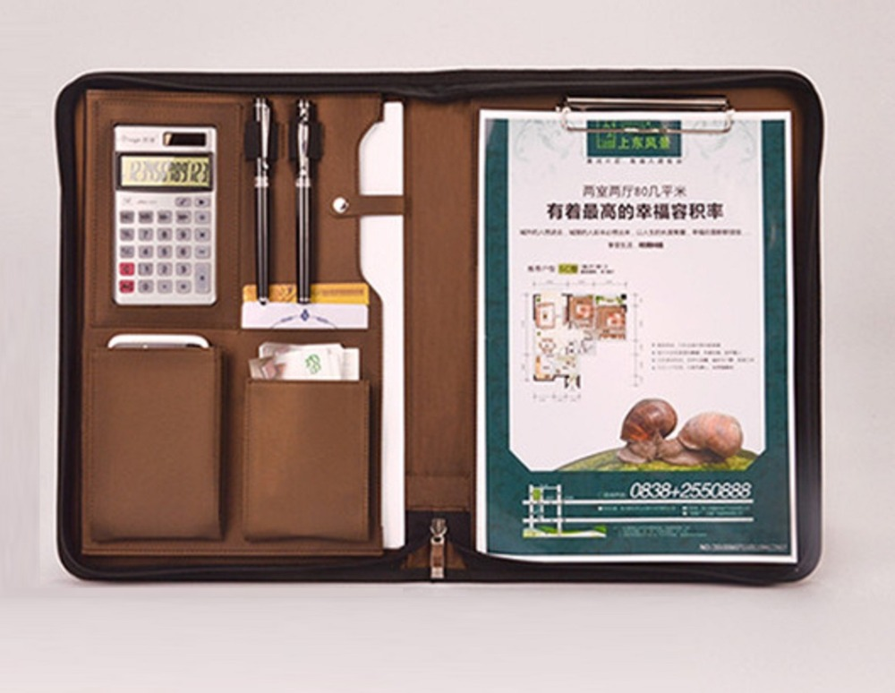 For office business classical manager bag file document folder holder with calculator note manager folders with 4000mah mobile power multifunction cument holder manager holders office supply work accessories