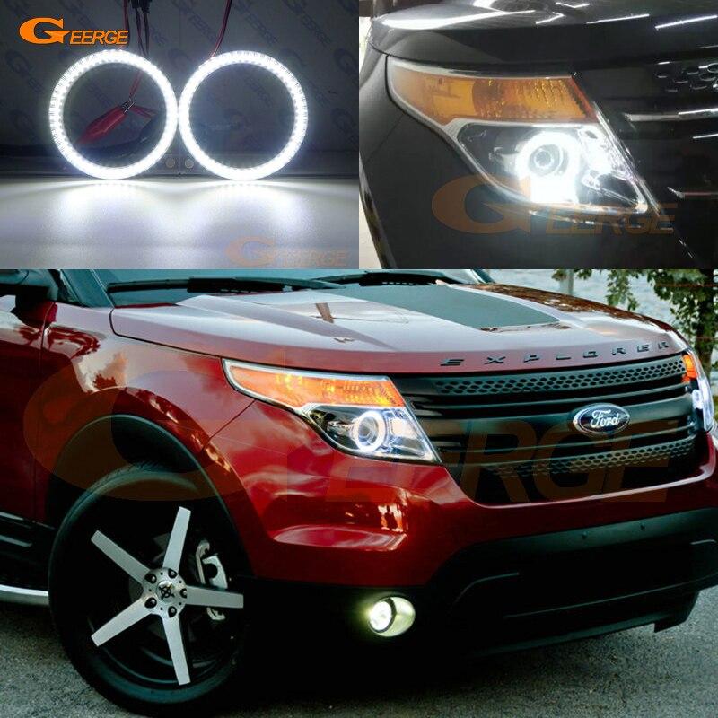 купить For Ford Explorer 2011 2012 2013 2014 2015 Excellent Ultra bright illumination smd led Angel Eyes Halo Ring kit DRL по цене 1760.22 рублей