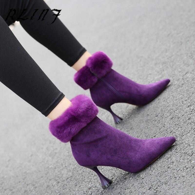 Violet Avec Beige Femmes Pointu Talon Vin Nouveau De Hiver Haut Noir En Martin 2018 Rlinf Verre pourpre Bottes Stiletto Pourpre Fourrure Beige noir mn0N8ywvO