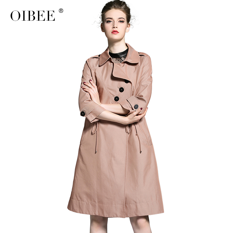 OIBEE High Quality Fashion Solid Turn-down Collar Corset Sexy Long   Trench   Coat