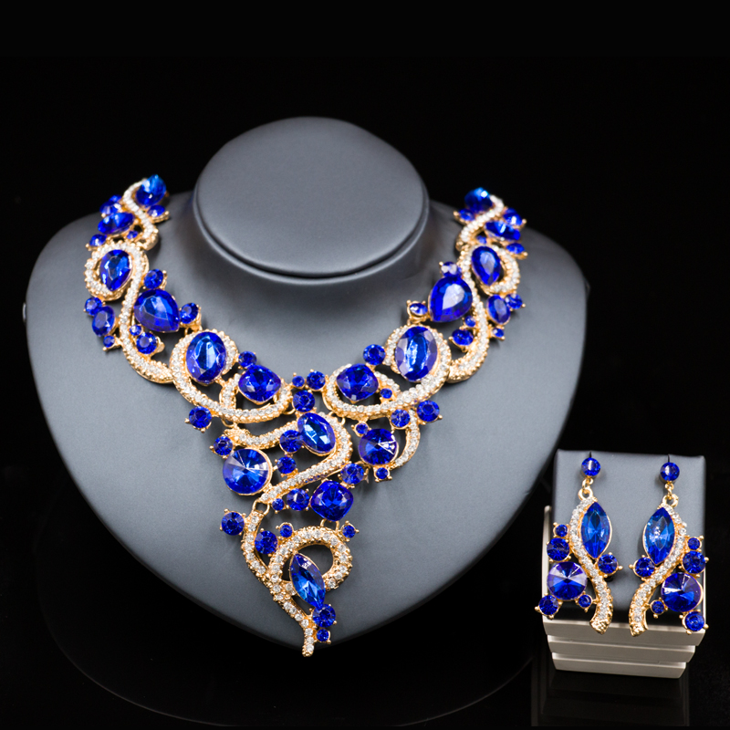 Indian jewelry nigerian beads necklaces gold color necklace and earrings bridal jewelry sets six colors free shipping