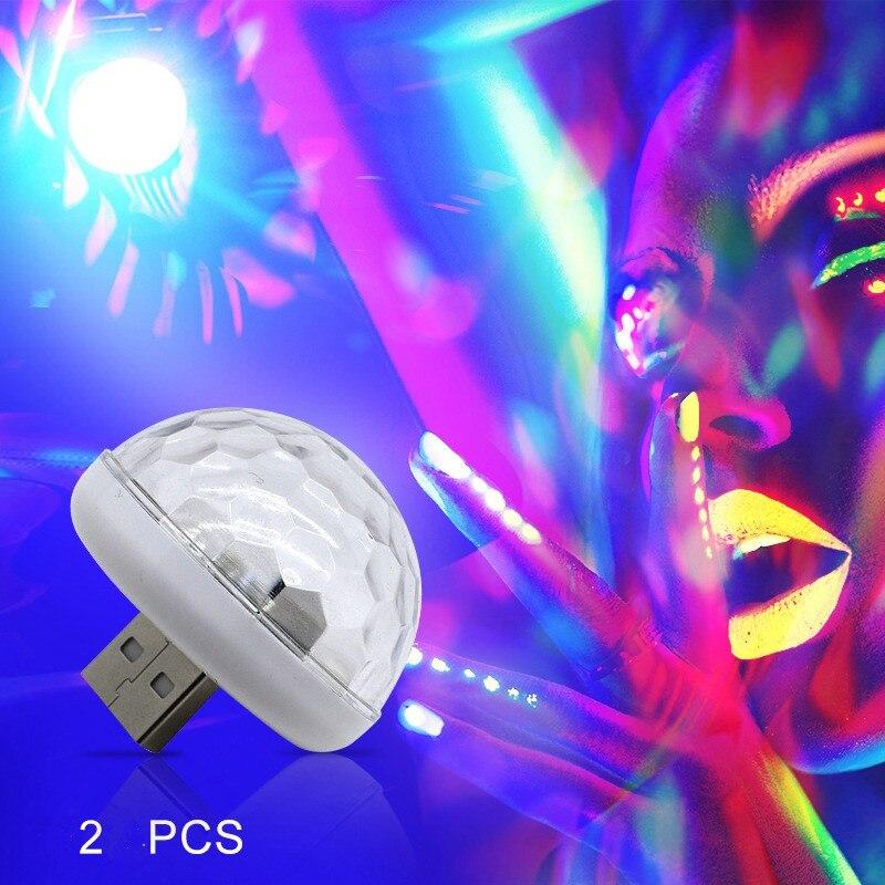2Pack LED Stage Light Disco Lamp Party Lights Car RGB Atmosphere DJ Crystal Sound-sensitive Mini Colorful USB 3W High Brightness
