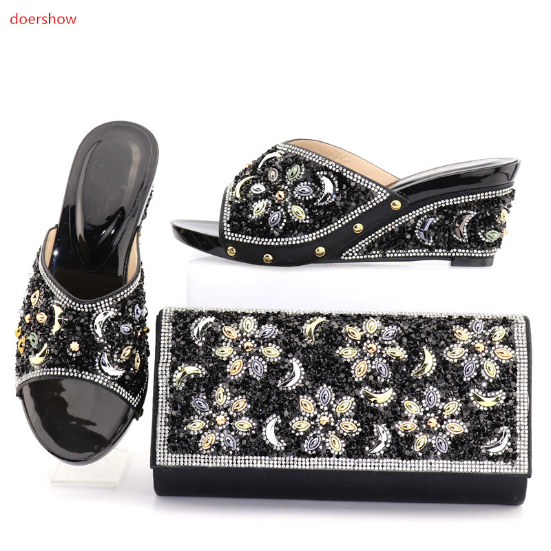 doershow Matching Italian Shoes and Bag Set African Shoe and Bag Set for Party in lady Nigerian Shoes and Bag Setforparty!MO1-17 doershow italian shoe and bag set african lady shoes matching wedding party dress for free shipping puw1 11