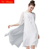 women's white silk dress 2018 summer plus large size long maxi vintage office elegant bohemian beach casual floral dress