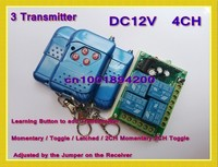 DC12V 4CH Wireless Receiver 3 Transmitter RF Keyless Switch Light Lamp LED SMD Remote Control ON OFF Switch 315/433.92