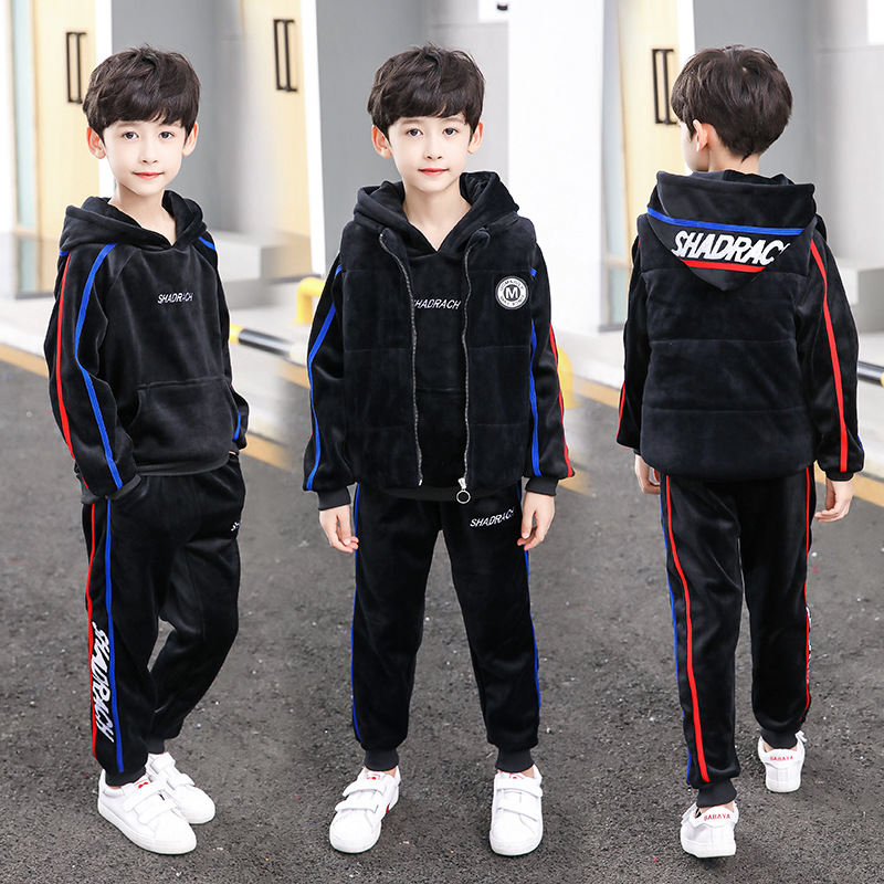 Big Boys 4T-14Y Hooded Long Sleeve Double Thick Fleece Velvet Hoodie 3PCS Clothing Sets Casual Streetwear Clothing SetsBig Boys 4T-14Y Hooded Long Sleeve Double Thick Fleece Velvet Hoodie 3PCS Clothing Sets Casual Streetwear Clothing Sets