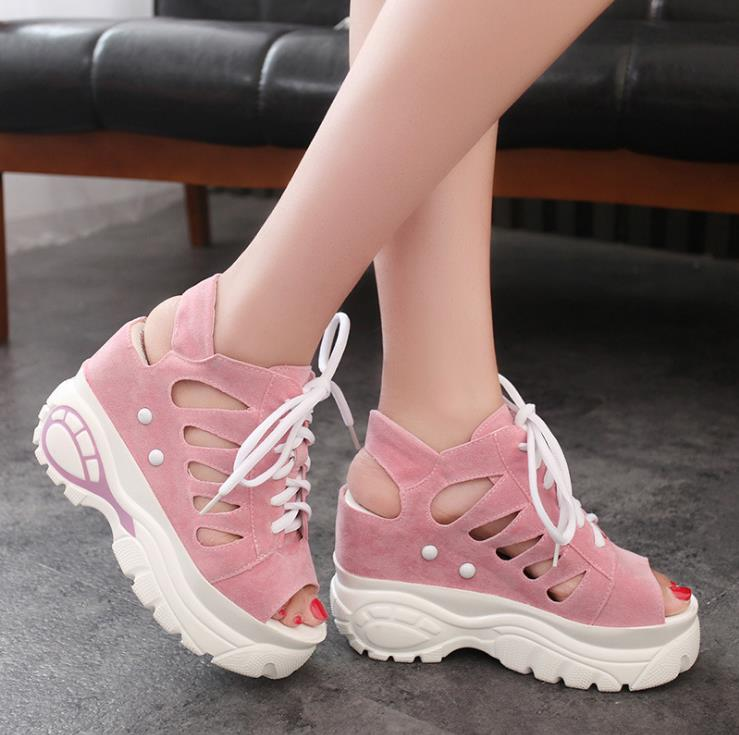 2018 new summer fashion women wedge sandals with muffin sandals thick fish mouth Roman Roman hollow 1