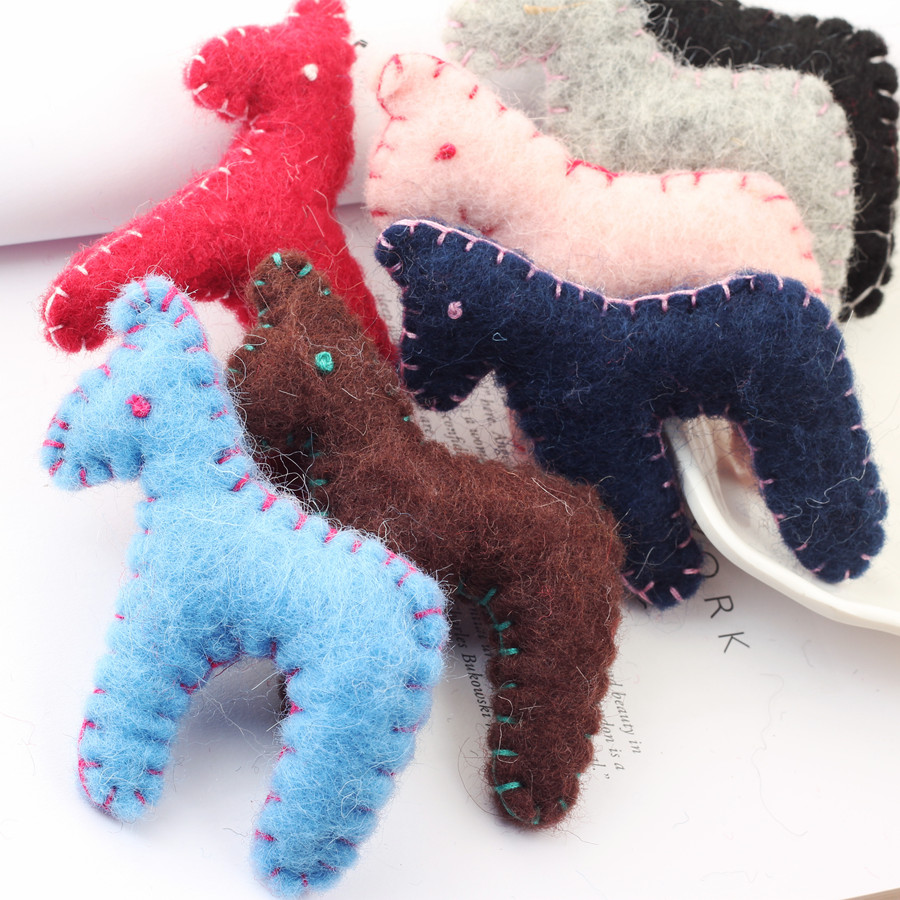 Free Shipping 8PCs/Lot Girls Hair Jewelry DIY handmade Crochet Wool Felt Doll Craft Animal Horse Patch Sticker Doll Craft Decor