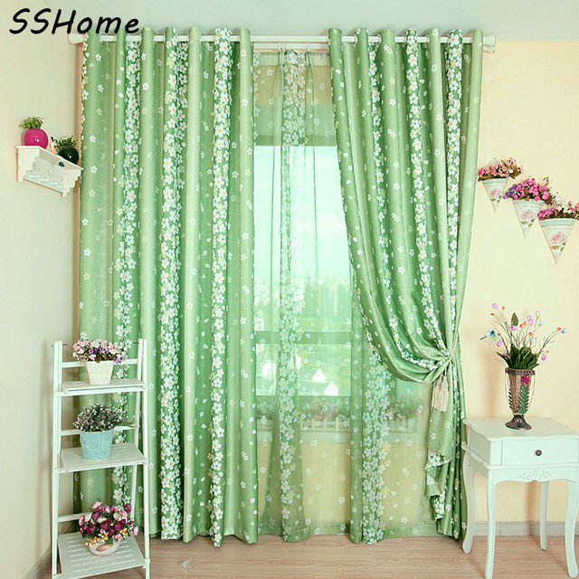 Green Small Floral Print Curtains Rustic Curtain Bedroom Curtain Rustic  Green