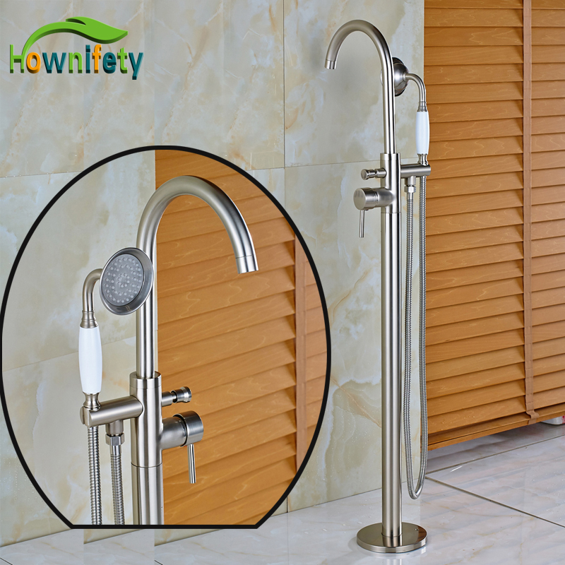 New Promotion High-end Bathtub Floor Shower Mixer Taps Brushed Nickel Bathroom Faucet ...