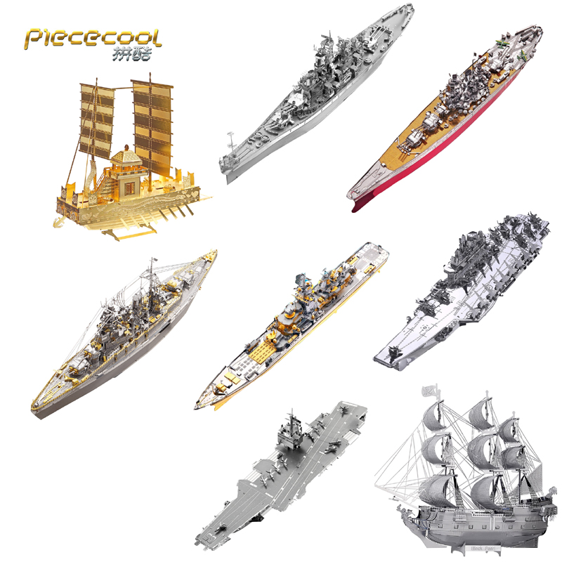 Piececool 3D Metal Puzzle finger Toy Battleship warship Military model Educational Puzzle 3D Models Gift Toys For Children