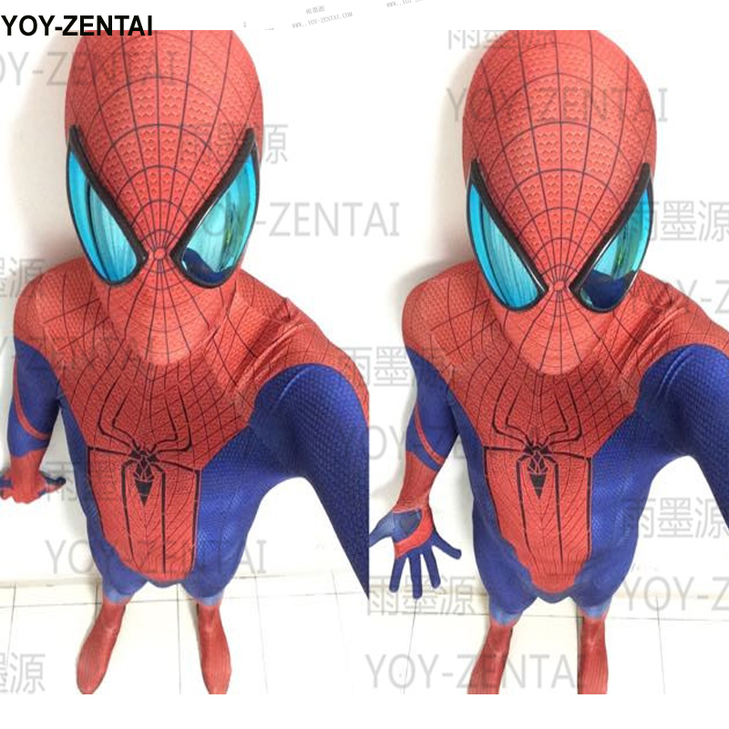 High Quality Amazing Spiderman Costume With Mirror Lens Adut Spiderman Costume Spandex Suit Man Spiderman Lycra Costume