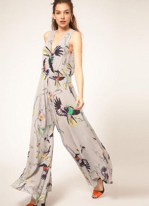 bf69989679da Free Shipping Women's Vest and Pant 2 in 1 Style V-Neck Floral Printed  Style Sleeveless Rompers Jumpsuit LT1933