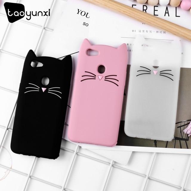 TAOYUNXI Cute Beard Cat Case For OPPO F7 F5 A73 F5 Plus F5 Youth R9 R9S F1 Plus R11 R11S A83 A1 A79 A57 F3 Lite A39 R17 Cover