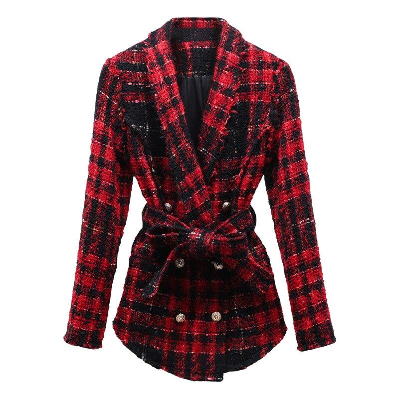Tweed veste manteau femmes bouton lion rouge plaid carreaux veste manteau double boutonnage haute qualité mode hiver-in Vestes de base from Mode Femme et Accessoires    2