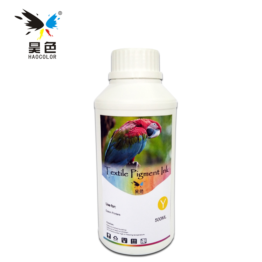 500ML Yellow Color Digital Textile pigment Ink garment ink For <font><b>Epson</b></font> Stylus T50 T60 P50 A50 SureColor <font><b>F2000</b></font> F2080 <font><b>printers</b></font> image