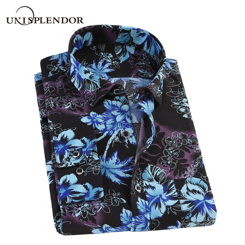 Spring Printed Men's Shirts New Flower Men Casual Shirt Man Plaid Dress Shirts Male Camisa Top Autumn Fashion Clothing YN10465