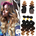 7A Ombre Malaysian Virgin Hair With Closure Malaysian Body Wave With Closure 3 Bundles Blonde Human Hair Weave With Lace Closure