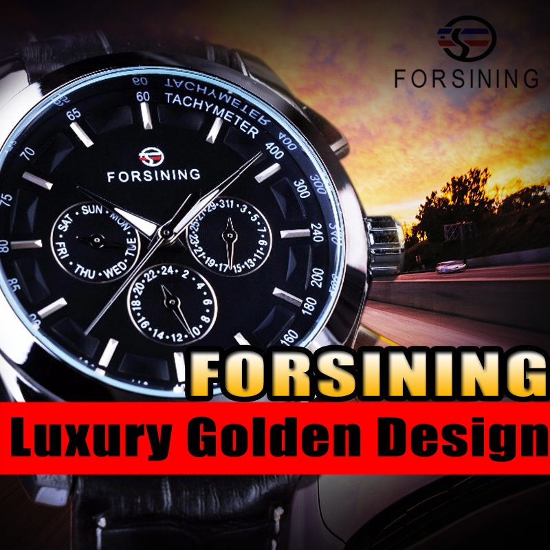 Forsining 3 Dial 6 Hands Men Watches Business Genuine Leather Strap Black Watch Top Brand Luxury Automatic Watch forsining 2017 fashion swirl dial design 3 dial 6 hands genuine leather mens watches top brand luxury display automatic watch