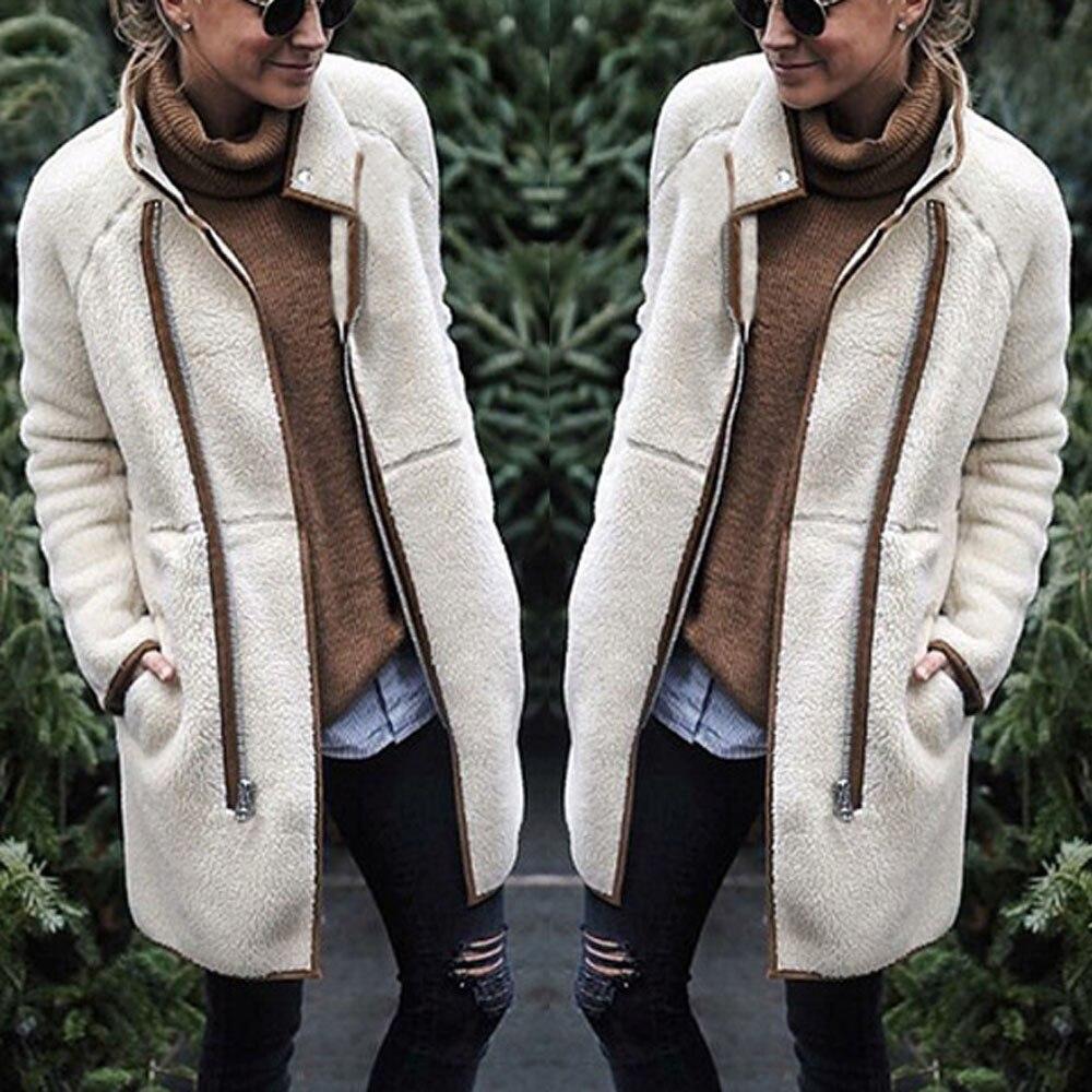 הלבשה עליונה & מעילי מעילי אופנה קטיפה ארוך שרוול שרוול פנס מוצק V-צוואר למעלה סוודר ומעילים נשים 2018Sep21
