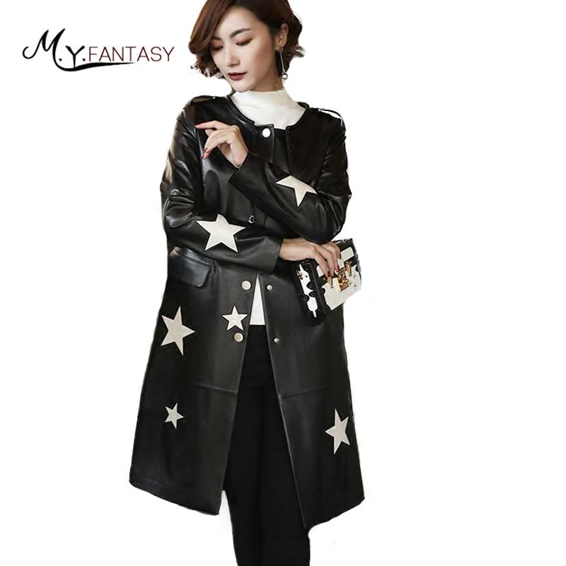 M.Y.FANSTY 2017 Winter Women's Real Leather Coat O-Neck Long Sleeve Long Wool Leather With Sashes Button Causal Leather Coats