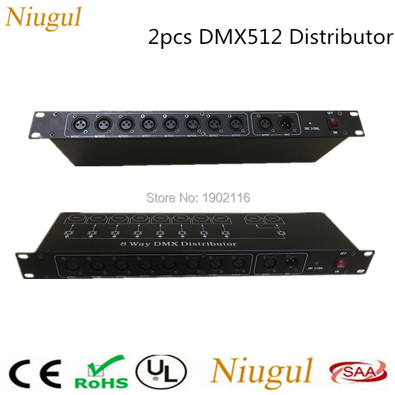 2pcs/lot Stage Light Controller DMX512 Splitter Light Signal Amplifier Splitter 8 way DMX Distributor for stage Equipment LED dmx512 digital display 24ch dmx address controller dc5v 24v each ch max 3a 8 groups rgb controller