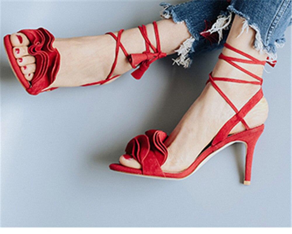 Gladiateur Femmes D'été Clouté Choudory Noir Rouge Sandalias Pic Hauts Chaussures Sandales Pic Rose Sangle Sexy as Cheville As Ruches Talons Femme xSZI4nSzqw