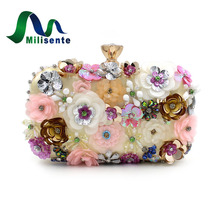 Milisente Brand Women Party Clutch Bags Flower Wedding Handbag Champagne Messenger Crossbody Designer Purse