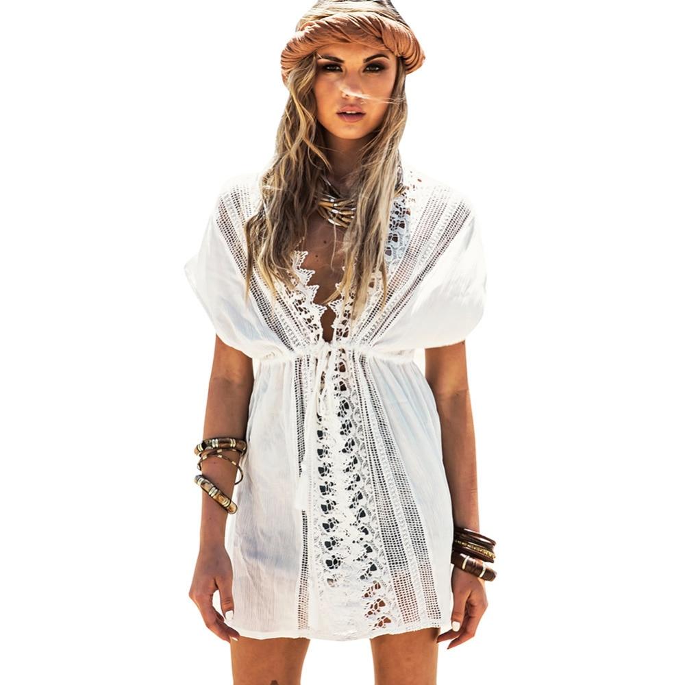 Deep-V Neck Swimsuit Cover Ups Women Sexy Kaftan Beach Tunic Dress 2018 Summer Robe De Plage Cotton Pareo Beach Cover Up